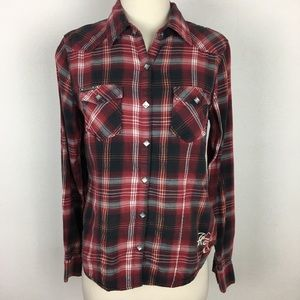 Harley Davidson Red Plaid Button Down Small
